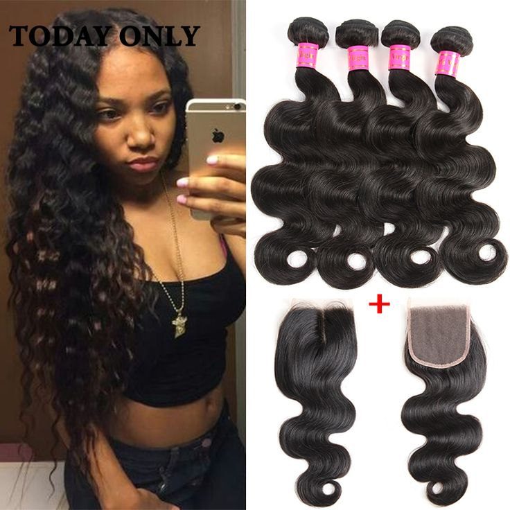 Queen Hair Peruvian Body Wave 4 Bundles With Closure 10A Grade Peruvian Virgin Hair Bundle Deals Human Hair With Lace Closure