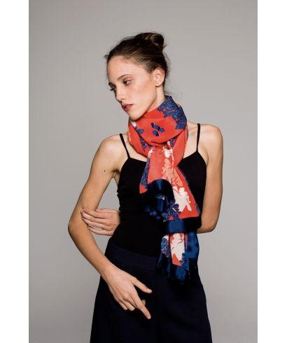 Kimono Martina Red silk scarf  www.floren-z.com