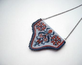 Textile jewelry, hand embroidery and crochet necklace, brown, rust, deep blue, traditional Hungarian cross stitch motif