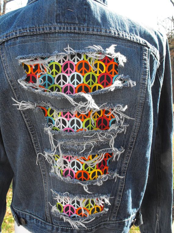Denim Peace Sign Distressed Torn Frayed Aeropostale Denim Jacket Size L Upcycled Hippie BOHO Jean Jacket Refashioned Denim This gently used Aeropostale Clothing brand denim jacket has been refashioned with a groovy Peace sign peek-a-boo style between distressed denim cutouts. The