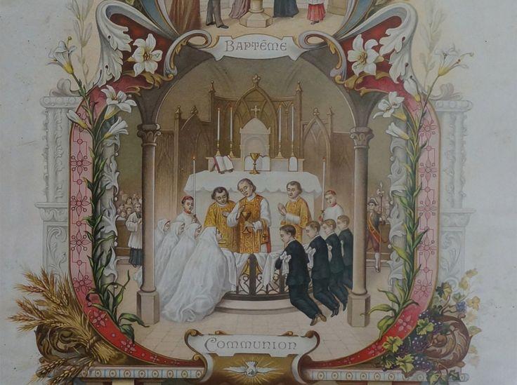 Communie certificaat uit 1911, gouden lijst 45 x 33 cm