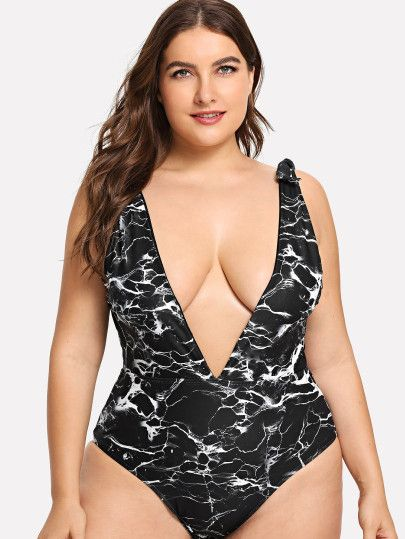 a19d36c797da Plus V-Plunge Marble Print Swimsuit -SheIn(Sheinside)   Clothes in ...