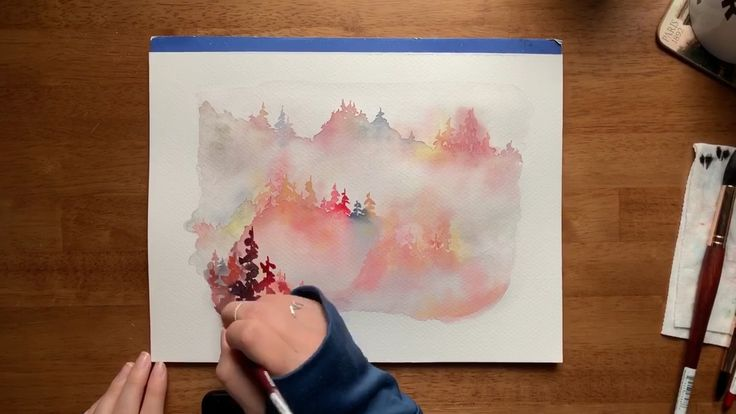 Misty forest in autumn watercolors