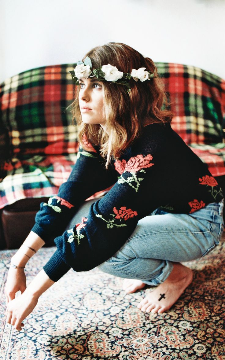 Jeans a floral jumper and of course a floral crown - it works x