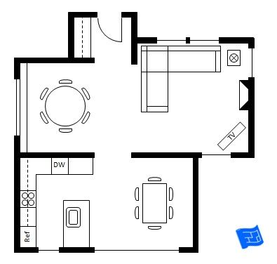 This would work except the formal circle dining room is for Kitchen dining room floor plans