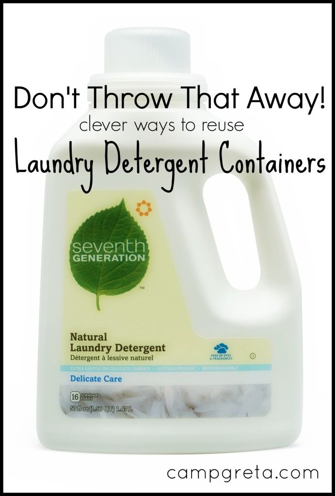 Don't Throw That Away! Here's a collection of clever ways to reuse, repurpose, upcycle Laundry Detergent Containers!