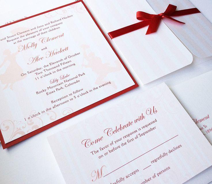 Mary Poppins Wedding Invitation, Disney Wedding Invitations, Unique, Red,  Striped, Romantic, Elegant Invitation, Bat Mitzvah Invite   Sample