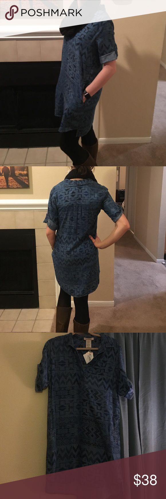 "*New* Philosophy Denim Style Dress This is a fun dress with an aztec-style pattern that has a denim look but is super soft and feminine. The pockets make it so cute and stylish over leggings with boots ♥️ the website describes it as a shirtdress but I am 5'10"" and it works as a dress on me! Philosophy Dresses"