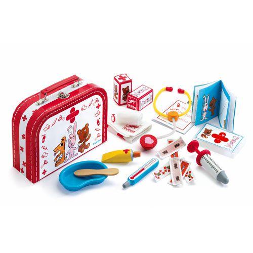 Ένα παιχνίδι ρόλων από την εταιρείαdjeco.  Ένα βαλιτσάκι που περιλαμβάνει όλα τα εργαλεία ενός κτηνίατρου.  Από 4 ετών και πάνω.