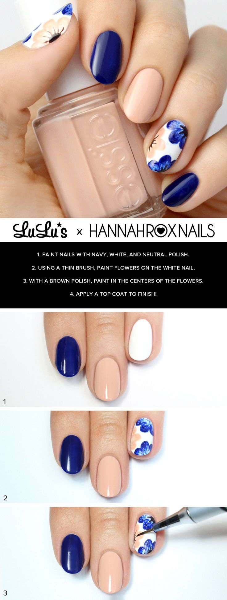 Lorde inspired nail tutorial - Nude And Navy Blue Floral Nail Tutorial 15 Color Block Nail Art Tutorials For Summer