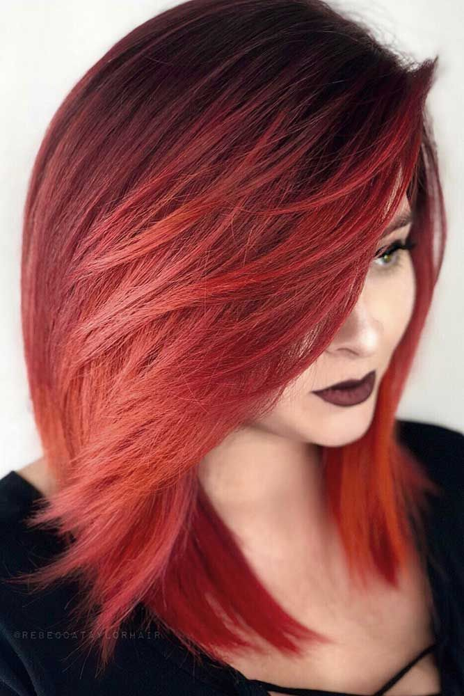 36 Easy Styling And Cute Side Bangs Lovehairstyles Com Red Bob Hair Hair Styles Red Hair Color