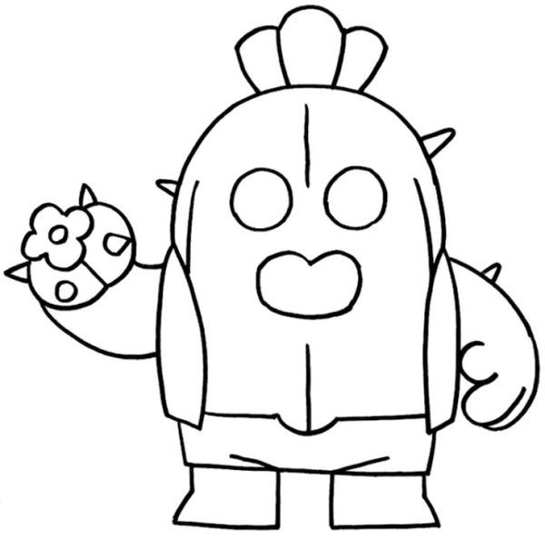 Coloring Page Brawl Stars Spike Cactus