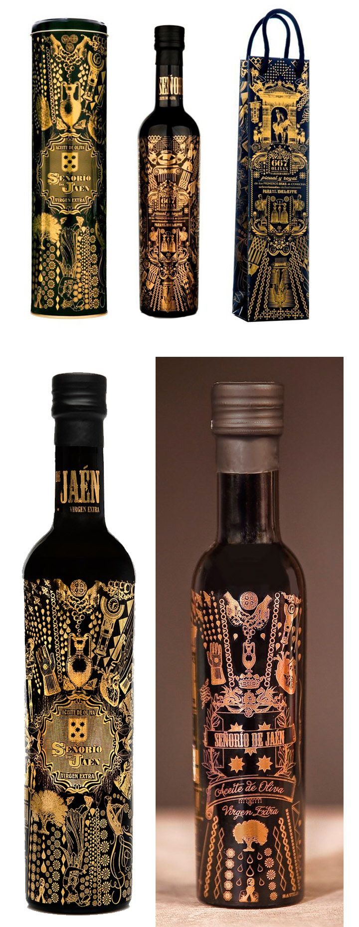Senorio de Jaen Olive oils; Virgin, Extra Virgin and 667 and packaging
