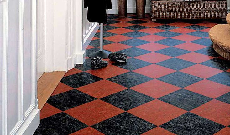 Black and red checkerboard marmoleum tile patterns for Checkered lino flooring