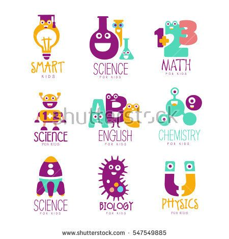 Kids Science Education Extra Curriculum Club Logo Templates In Colorful Cartoon Style With Smiling Characters