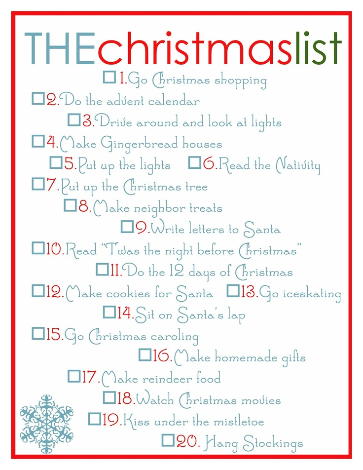 Christmas to-do list! Add some of these to my list