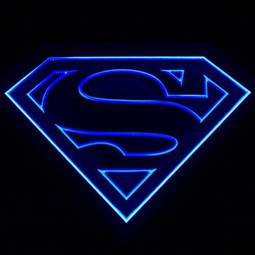 Zld012 Decoration Blue Superman Beer Pub Bar Led Energy Saving Light Sign Neon Ebay Superman