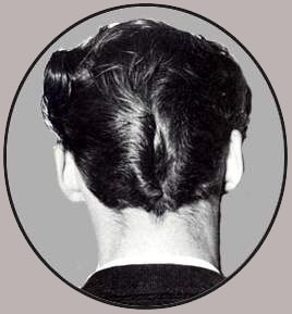 The duck's ass (or, in the UK, duck's arse) is a haircut style that was popular during the 1950s. It is also called the duck's tail, the ducktail, or simply D.A.