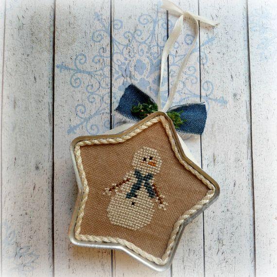 Snowman Star Tart Tin Cross Stitch Ornament by SnowBerryNeedleArts