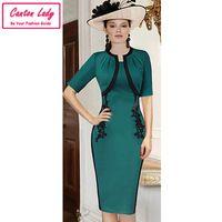 Платье вышивка винтажный, элегантный туника приталенный офис свободного покроя вечернее бизнес женщины бренда большой размер