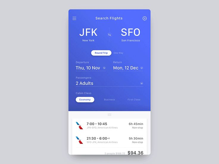 Flight booking app concept - UI & Interaction Design Check out @2x for better view.