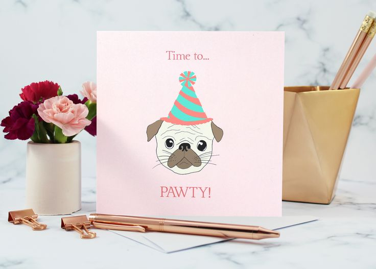 Pug birthday card. Shop it now on Pink Rosebud!