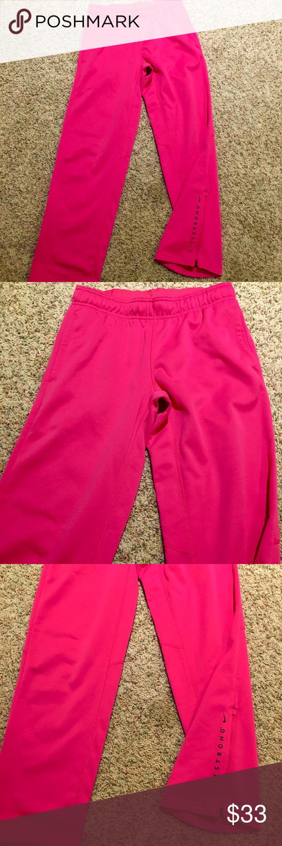 NIKE LIVESTRONG THERMAFIT SWEATPANTS WOMENS NIKE LIVESTRONG MEDIUM THERMAFIT SWEATPANTS. 31 IN INSEAM- ONLY WORE 2-3 TIMES. GREAT CONDITION AS SEEN IN PICS Nike Pants Track Pants & Joggers