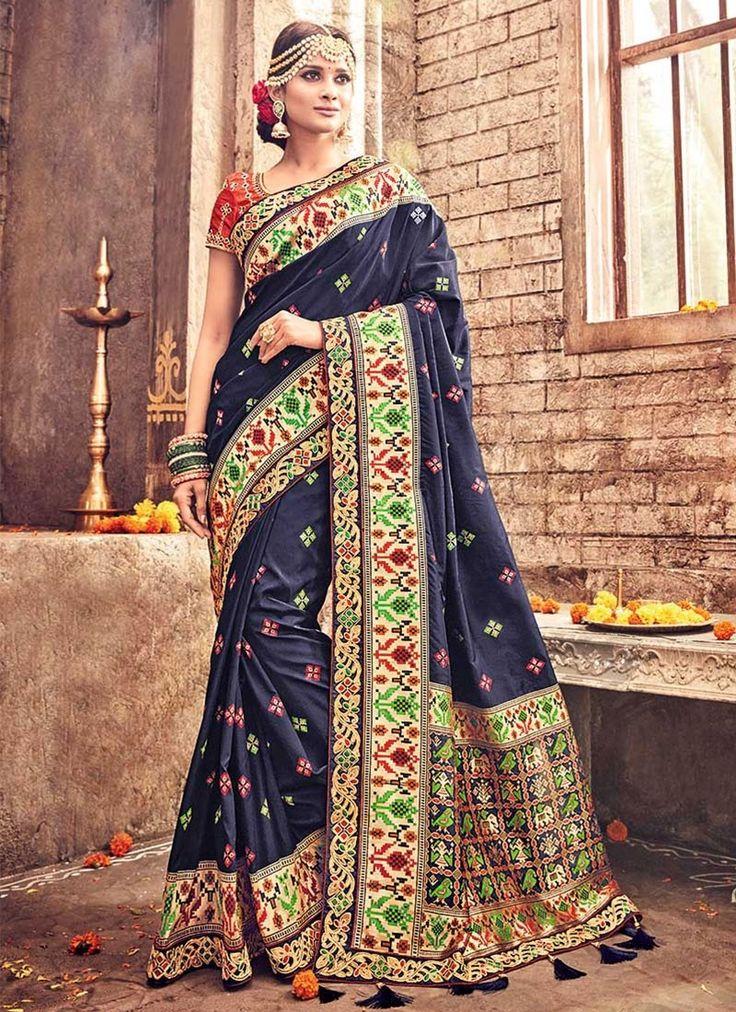 Blue Banarasi Silk #WeddingSarees With Embroidered,Print,Lace Works. Order Wedding Sarees Online @Chennaistore.com