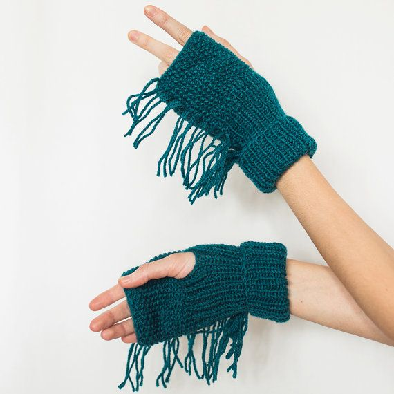 Mittens with a fringe. Tassel. Teal Grey Green by NatalieKnit
