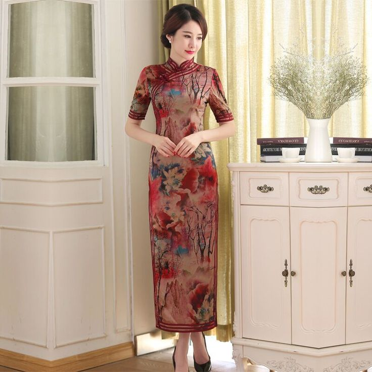 Spring Chinese Womens Silk Satin Long Cheongsam Hot Sale Traditional Qipao Dress Vestidos Size S M L XL XXL C27478