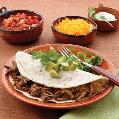 Shredded Beef tacos - in the crock pot! Chuck roast, salsa, chopped ...