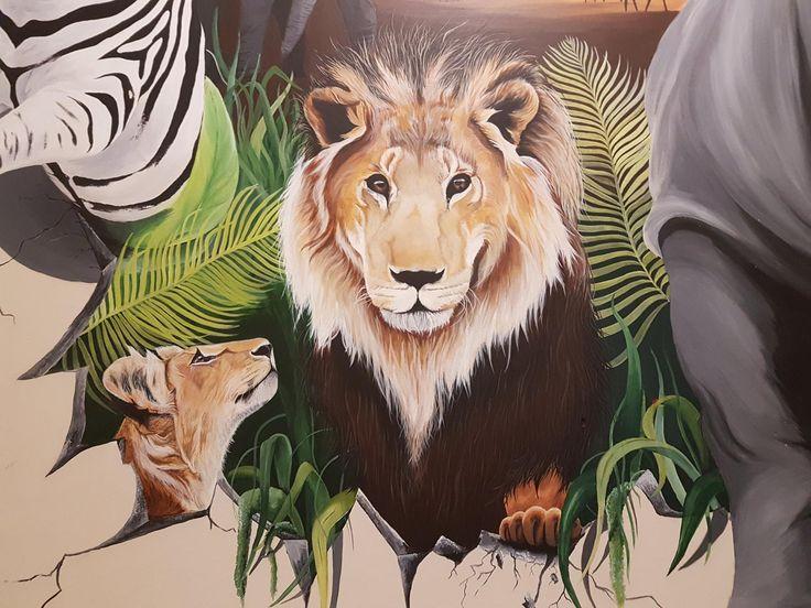 #mural#lion#cub#parent#wild#jungle#animal#wall#paint