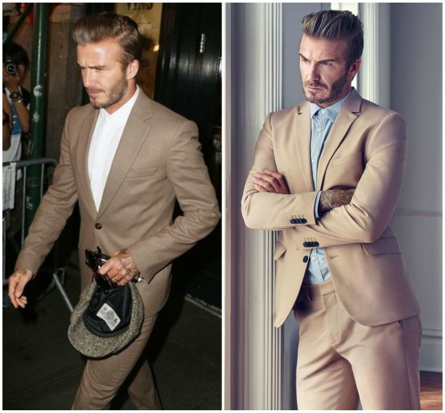 David Beckham Rocking the Beige Suit | Shop tailoring at The Idle Man | #StyleMadeEasy