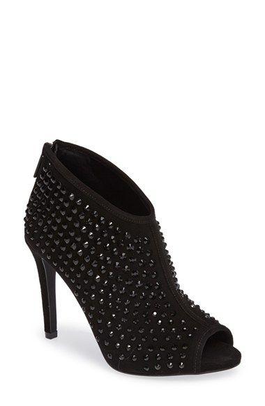 MICHAEL Michael Kors Dani Crystal Embellished Open Toe Bootie (Women)