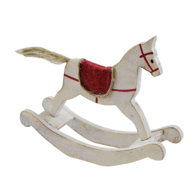 Cavallo a dondolo in legno bianco
