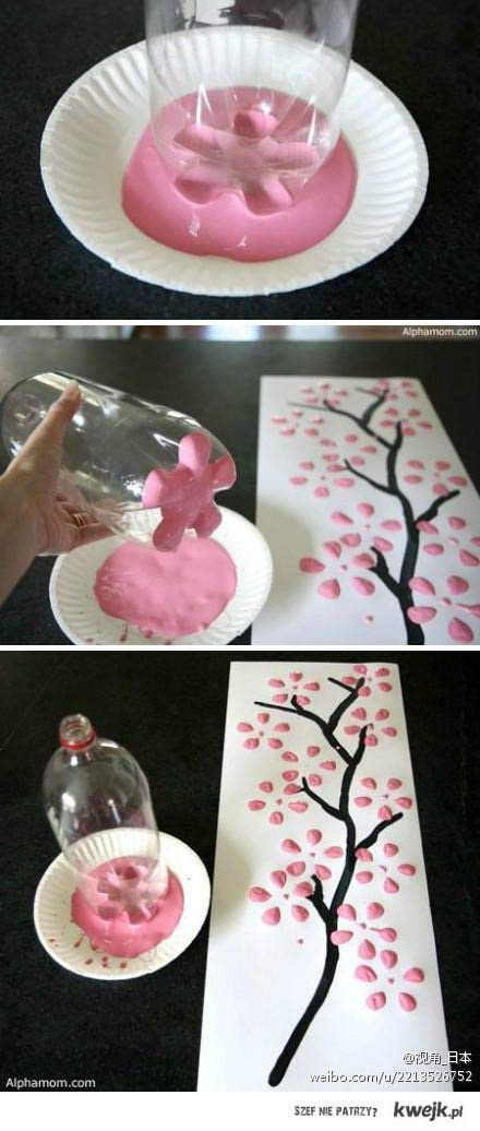 easy way to paint flowers. Would be cute for a little girls' room