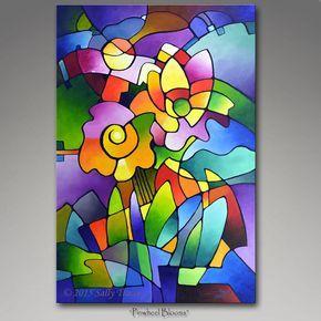 Jet d'encre art copie de ma peinture cubiste, toile giclée de ma peinture abstraite originale floral géométrique - 24 x 36