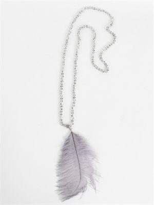 Zanca Sonne - Sølvfarvet glitterkæde med den smukkeste grå fjer