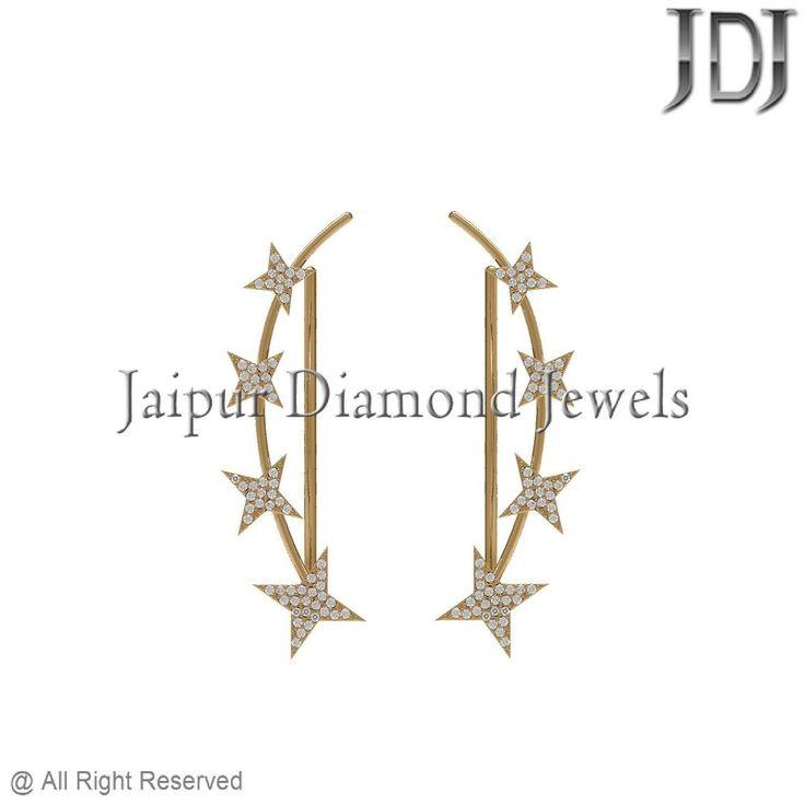 Fine 14k Yellow Gold 0.63ct Genuine Pave Diamond Star Ear Cuff Earrings Jewelry #Handmade #EarCuff #diamond #pave #14kgold #star #yellowgold #fashionjewelry