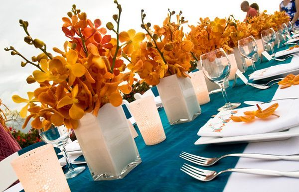i like the candle holders and these colors together: Ideas, Colors Combos, Tables Sets, Orange Wedding, Weddings, Colors Schemes, Wedding Colors, Orange Flowers, Centerpieces