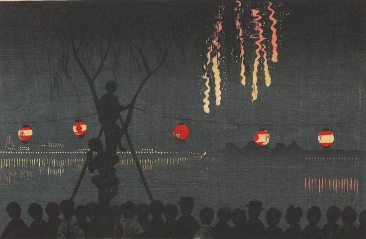 Kobayashi Kiyochika / Fireworks at Ike-no-Ata / Meiji era Woodblock print / Japan 1881