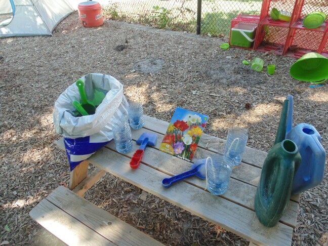 Flower planting with recycled with water bottles