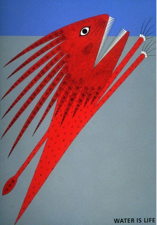Japanese Poster by Kazumasa Nagai, 1989, Water is Life. #Fish