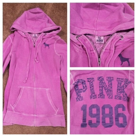 Victoria secrete purple zip up hoodie💕 Victoria secrete purple zip up hoodie💕 this garment has been worn and the low price will reflect that - still a very cute item to have in your closet Victoria's Secret Sweaters