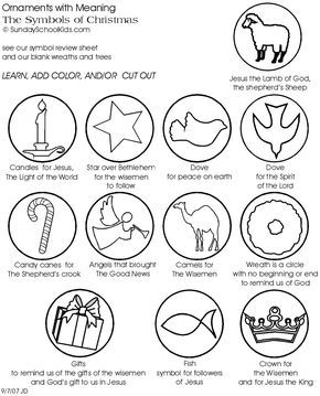 grade 2-6 Sunday School lesson learn the meaning of the symbols of christmas