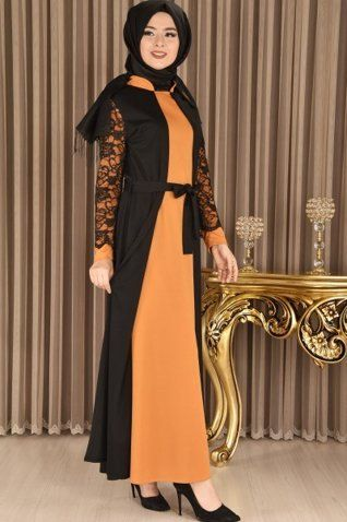 ad0bfa147781b modamerve - Kol Dantelli Elbise Siyah/Hardal YAG 8945 | abdullah ...