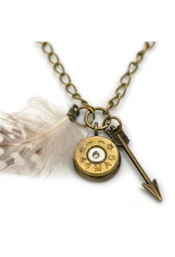 Feather Charm Necklace - Bronze   Jewelry   Girls with Guns Clothing