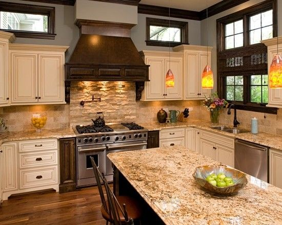 Kitchen Backsplash Ideas With Cream Cabinets best 25+ venetian gold granite ideas on pinterest | off white