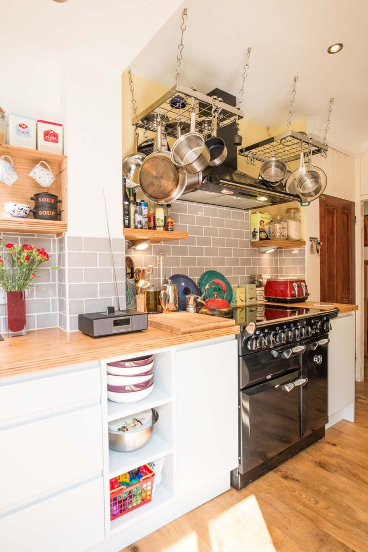 Bright and modern kitchen with bamboo worktop and grey tiles - Sheffield Sustainable Kitchens