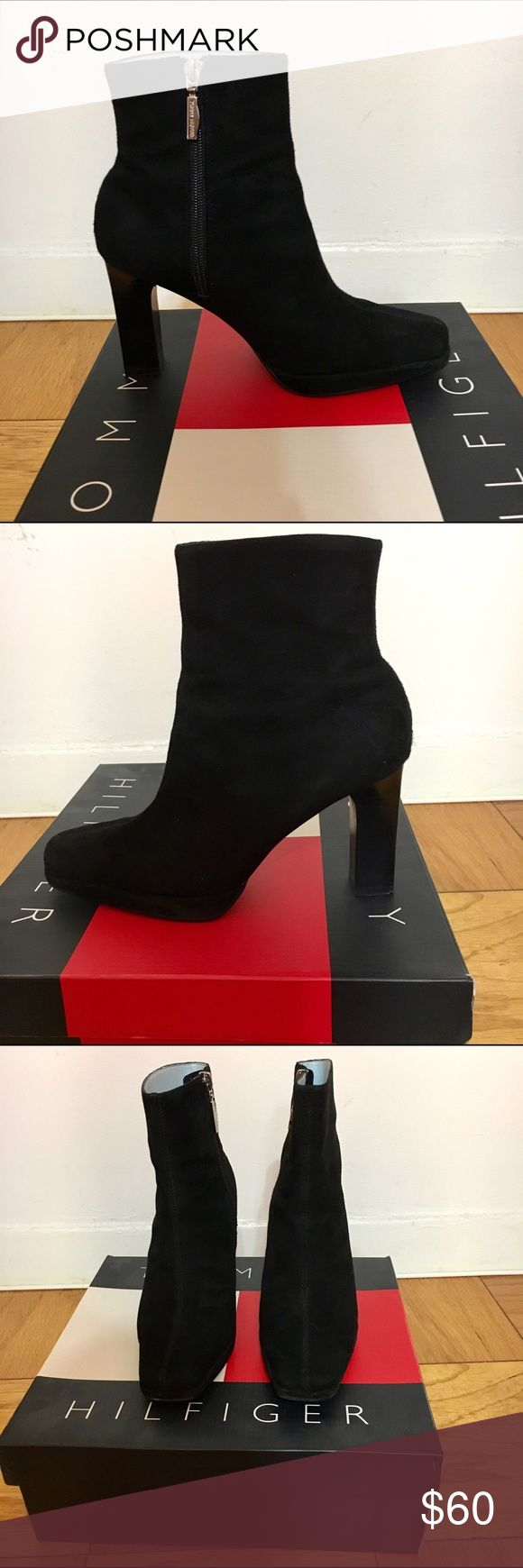 "Tommy Hilfiger black suede boots Sleek black suede Tommy Hilfiger boots. 3.5"" heels, worn once. They come with the box!  offers welcome! Tommy Hilfiger Shoes Heeled Boots"
